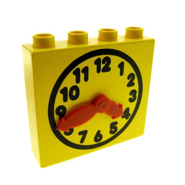 1 x Lego Duplo Möbel Uhr gelb 1x4x3 groß bewegliche Zeiger Puppenhaus Wohnzimmer 4145c01pb01