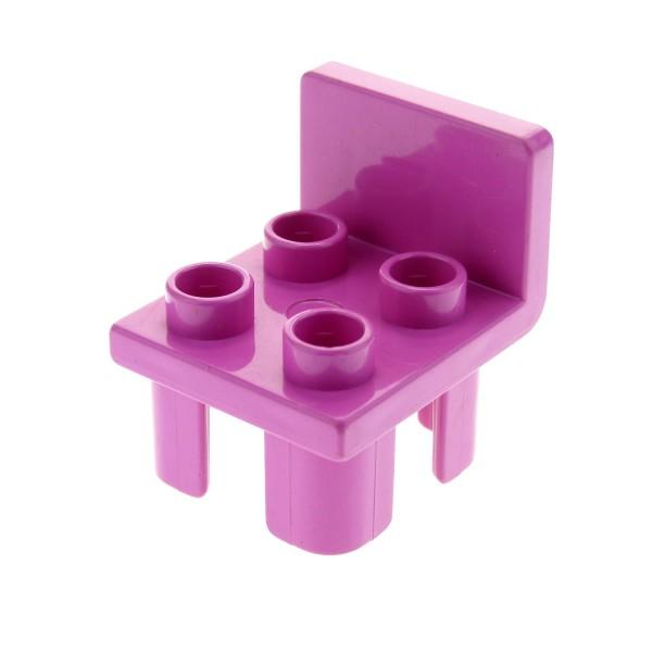1 x Lego Duplo Stuhl dunkel pink rosa 4 Noppe Sitz Stühle Küche Wohnzimmer Schlafzimmer Puppenhaus Möbel 2792 9168 6478