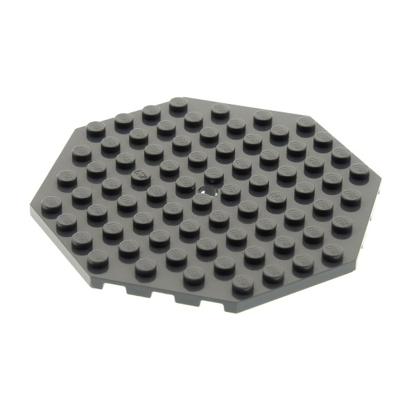 1 x Lego System Bau Platte 10x10 neu-dunkel grau Achteck Ecke mit Loch Oktagon 4583688 89523