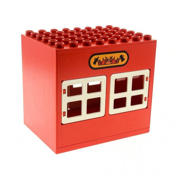 1 x Lego Duplo Gebäude Feuerwehr Wache rot 6x8x6 gross Haus mit Lego Logo und fire Aufdruck Puppenhaus  Fenster Tür Tor 2206 2208 2207pb01