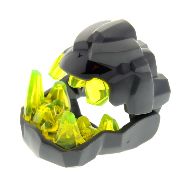 1 x Lego System Figur Kopf neu-dunkel grau transparent neon grün Power Miners Crystal King Rock Stein Monster Set 8962 85045c01pb01 85046c01