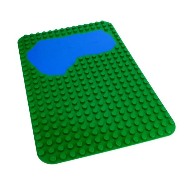 1 x Lego Duplo Bau Basic Platte grün blau 16x24 24 x 16 Noppen Wasser Wiese Rasen See Teich Zoo Puppenhaus 9095 2296pb01