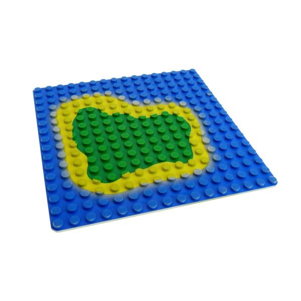 1x Lego Bau Platte blau gelb grün 16x16 Insel Wasser grau Grundplatte 3867p01