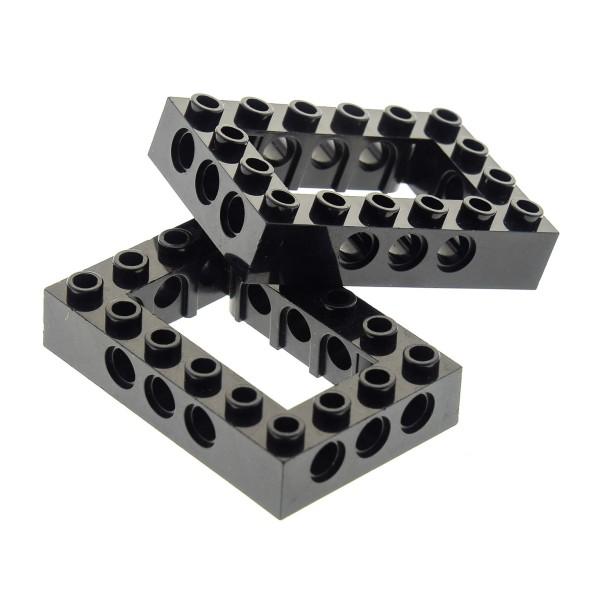 2 x Lego Technic Bau Rahmen Stein schwarz 4x6 Lochstein Technik Unterseite Kreuz Set 7782 21108 75154 4144025 40344 32531