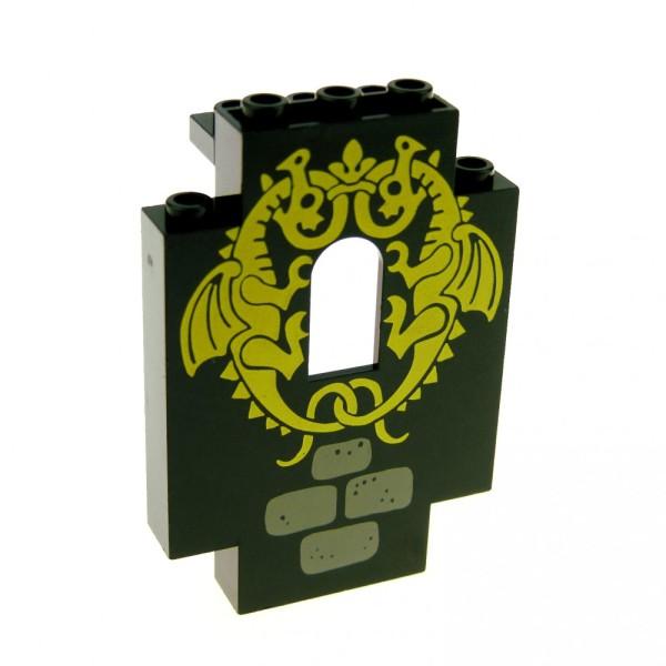1 x Lego System Mauerteil schwarz 2x5x6 Panele Mauer bedruckt Drache gelb Wand Fenster Burg Castle Set 6082 1906 444pb03