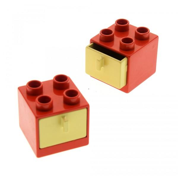 2 x Lego Duplo Möbel Schrank rot beige tan  2x2x1.5 Kommode mit Schublade 2x2 Schlafzimmer Küche Bad Puppenhaus 4890 4891