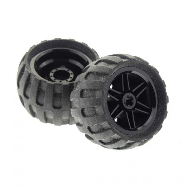 2 x Lego Technic Rad Ballon Reifen schwarz 30.4mm D. x 20mm Felge 43.2mm D. x 26mm Räder 61481 56145c04