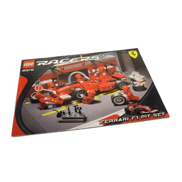 1 x Lego System Bauanleitung A4 Racers Ferrari F1 Pit Boxen Stop Rennwagen Set 8375