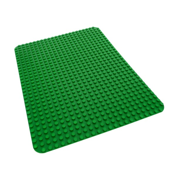1 x Lego System Platte B-Ware abgenutzt Bau Platte 32 x 24 Noppen grün 24x32 Basic Wiese Rasen rund Ecke 10b