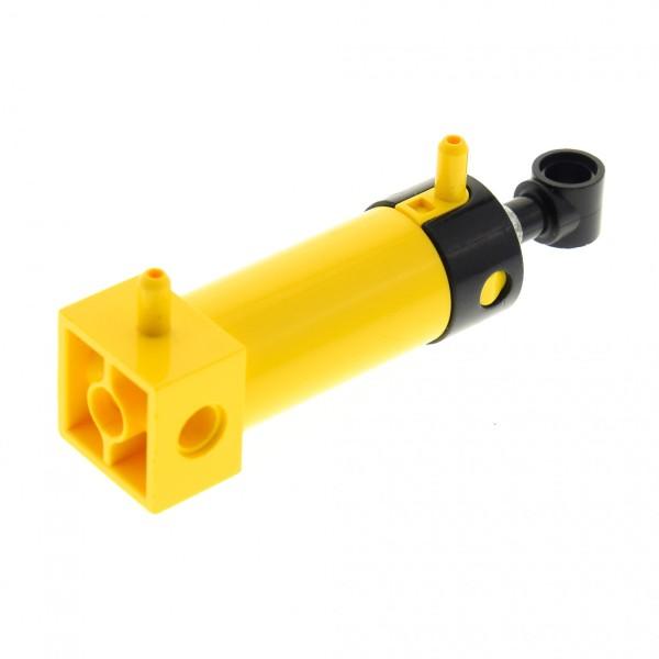 1 x Lego Technic Pneumatic Zylinder gelb 48 mm mit 2 Inlets Top schwarz Luftauslass lang Kolben Pneumatik geprüft 2793c01