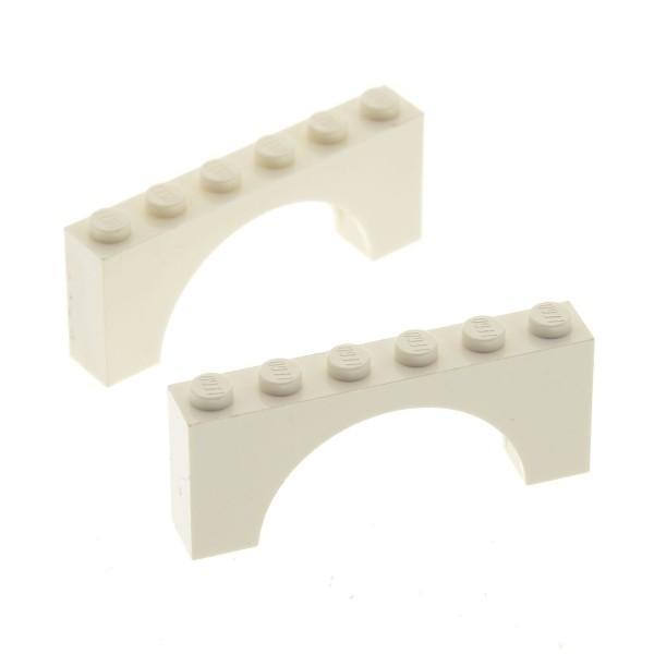 2 x Lego System Bogenstein weiss 1x6x2 Unterseite verstärkt Bögen rund Bogen Brücke Burg Tor Castle Arch 7573 10179 7676 7418 330701 3307