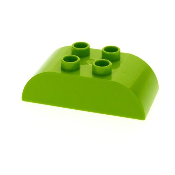 1x Lego Duplo Basic Bau Stein 2x4 lime hell grün Dachstein gewölbt rund 98223