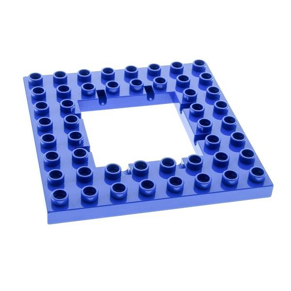 1 x Lego Duplo Bau Platte blau 8x8 Noppen Öffnung für Falltür Burg 51705
