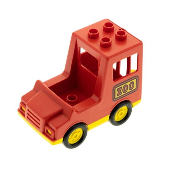 1x Lego Duplo Fahrzeug Auto Transporter rot gelb ZOO 1 Noppe im Sitz 2661 2669 2244cx1