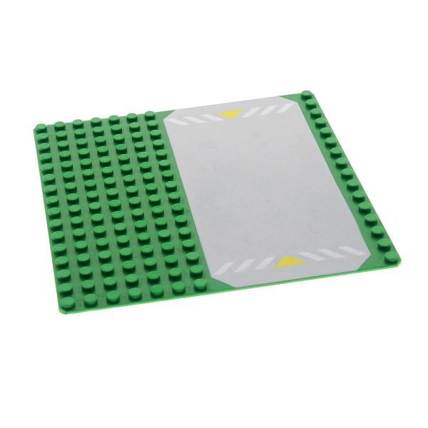 1 x Lego System Bau Basic Platte grün grau 16x16 mit Streifen Aufdruck Rasen Straße für Set 6435 6478 6434 30225p01