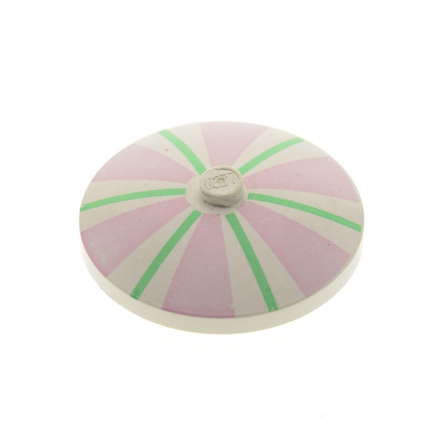 2 x Lego Radar Schirm Schild 4x4 weiß rosa bedruckt Streifen Set 6411 3960pb001