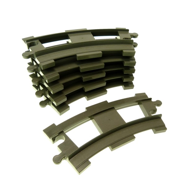 6x Lego Duplo Schienen gebogen Kurve alt-dunkel grau Eisenbahn Lok 637827 6378