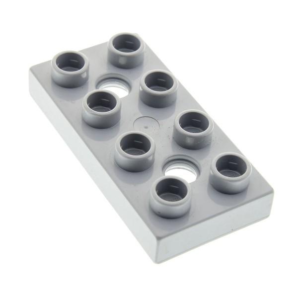 1 x Lego Duplo Platte neu-hell grau 2x4 mit 2 Löchern für Fahrwerk Passagier Flugzeug Hubschrauber Airplane Cars Siddeley 6134 10661