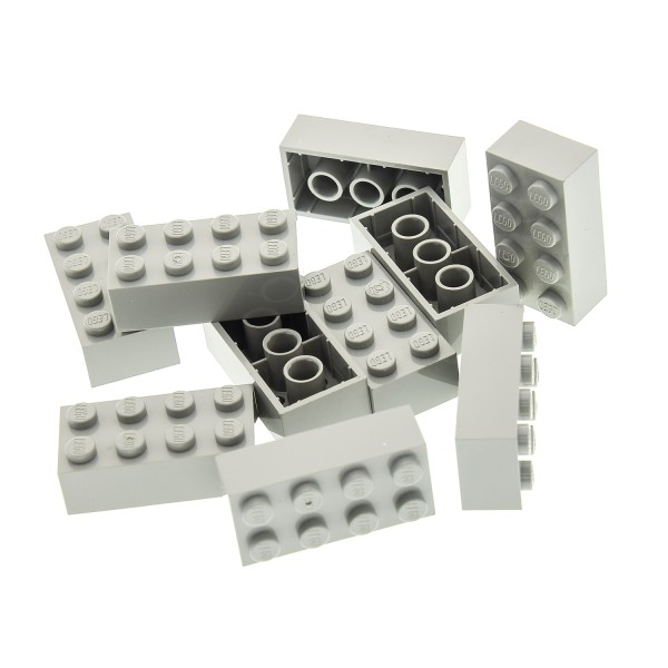 10 x Lego System Bau Stein alt-hell grau 2x4 Basis Basic Steine für Set Star Wars 3459 6975 6292 10030 1793 8299 300102 3001
