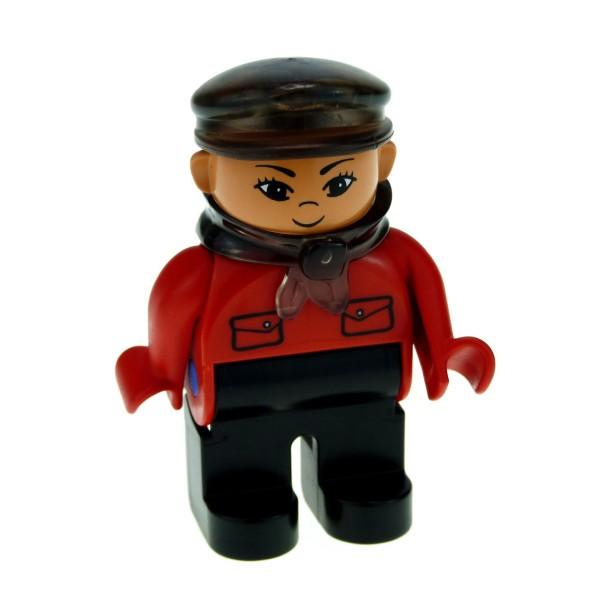 1 x Lego Duplo Figur Intelli Lokführer Hose schwarz Jacke rot Mütze transparent braun Pinn im rechten Fuß Mann Zug Eisenbahn Schaffner Set 10052 9125 3325 3335 4555pb051