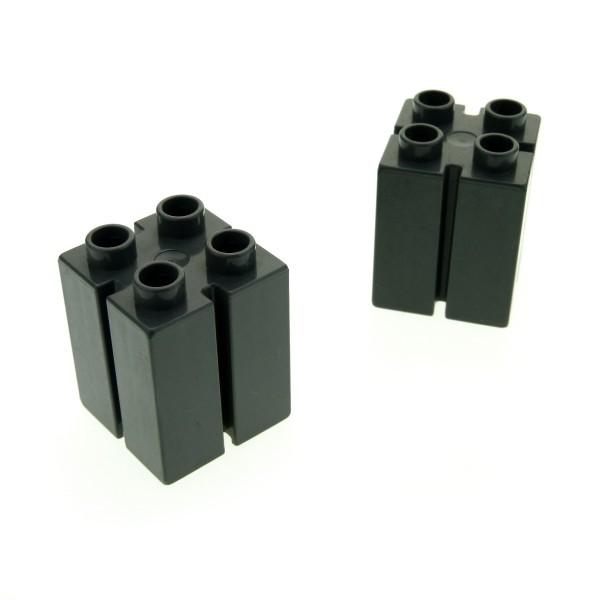 2 x Lego Duplo Bau Stein neu-dunkel grau 2x2x2 mit Führung Nut Rille Säule für Tor Burg Set 4785 4864 4988 4777 41978