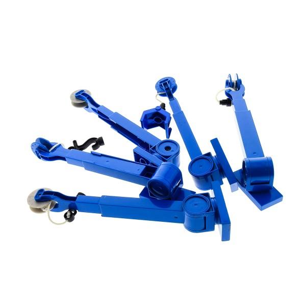 5 x Lego Duplo Kran Ausleger B-Ware abgenutzt blau schwarz Seilwinde Kran Arm Auto 41168