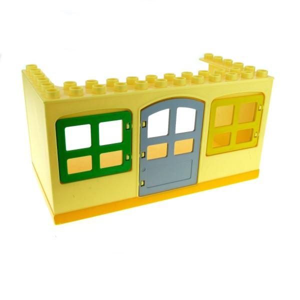 1 x Lego Duplo Gebäude Wohnwagen Oberteil hell gelb 6x12x5 gross Haus Puppenhaus Fenster Tür für Bob der Baumeister Bauwagen 52072pb01