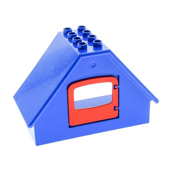 1 x Lego Duplo Gebäude B-Ware abgenutzt blau 4x8x5 Dach mit Fenster rot Zimmer Haus Wand Mauer 4247 31441