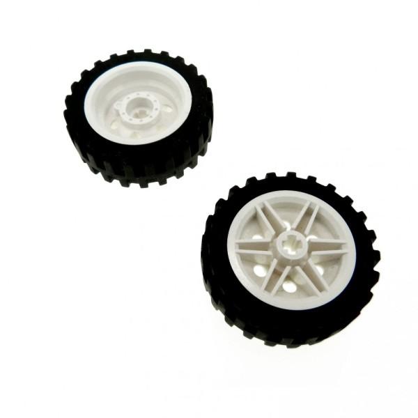 2 x Lego Technic Rad schwarz 43.2x14 Reifen Räder Felge weiss 30mm D.x14mm Technik mit Achs Loch Auto Fahrzeug 56898 56904c01