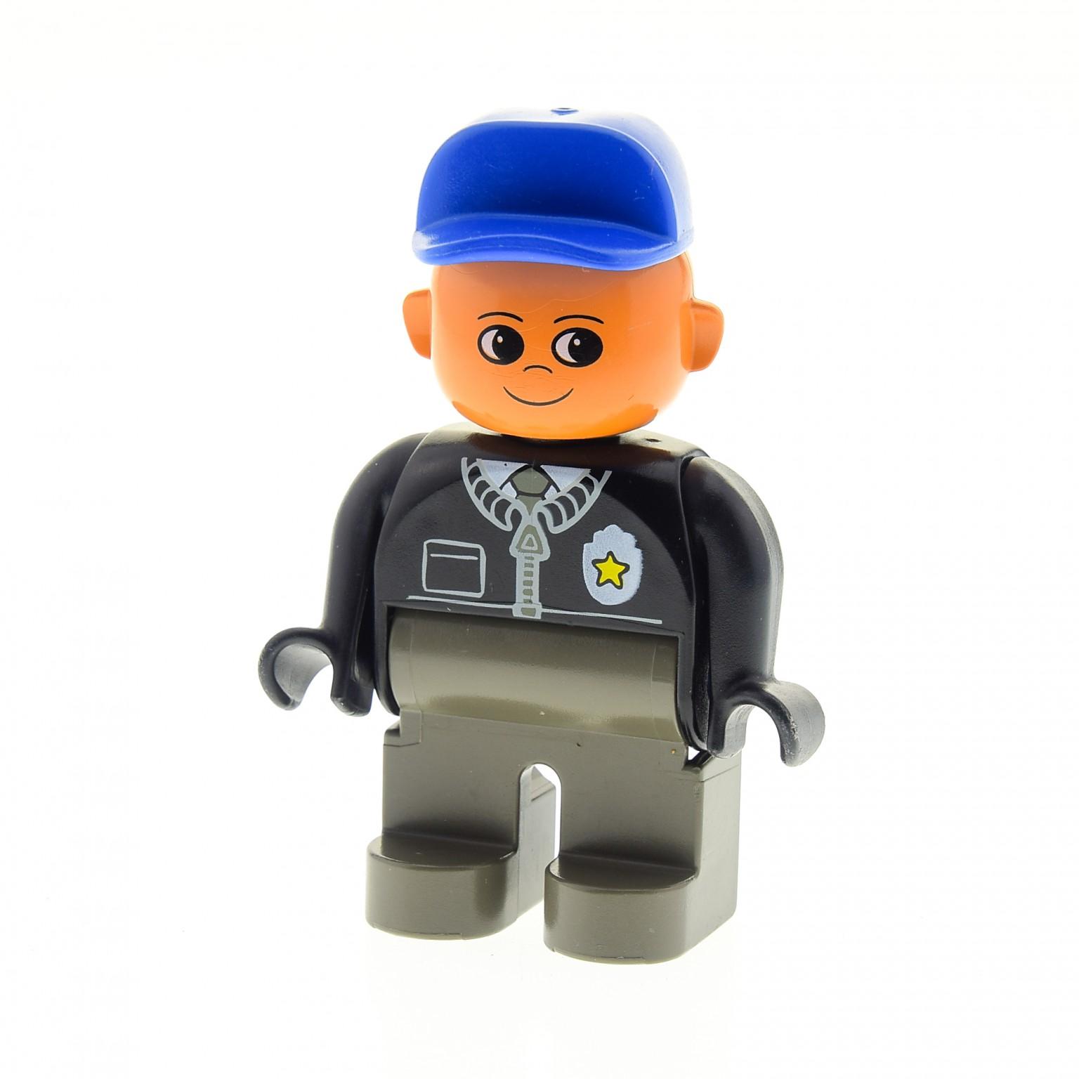 1 X Lego Duplo Figur Mann Polizist Alt-dunkel Grau Jacke