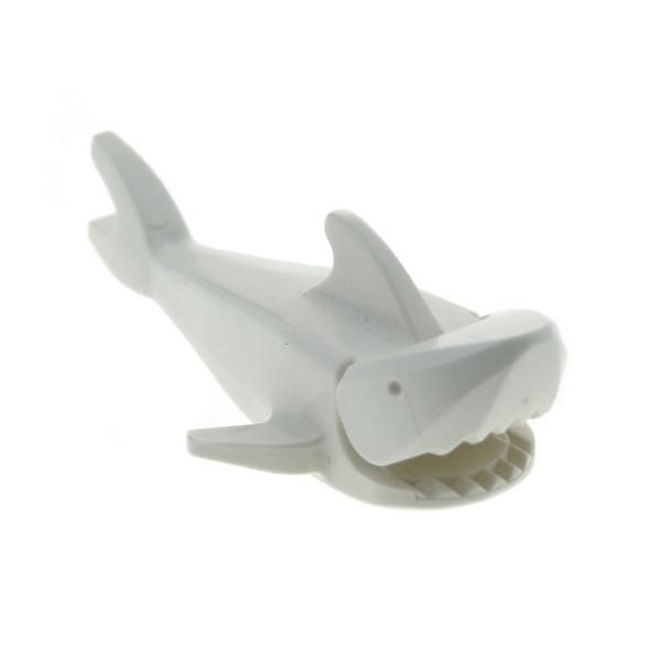 1 x Lego System Tier Hai Fisch Shark weiß mit Unterseite 1x2 Stein Ausschnitt für Set 6441 1782 6560 4178 6558 1100 2548 2547c01