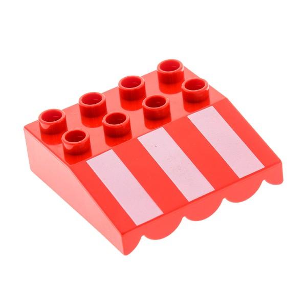 1 x Lego Duplo Dach Stein schräg 33° 4x4 rot weiß gestreift Markise überhängend Puppen Haus Set 5604 10867 5818 4520288 31170px1