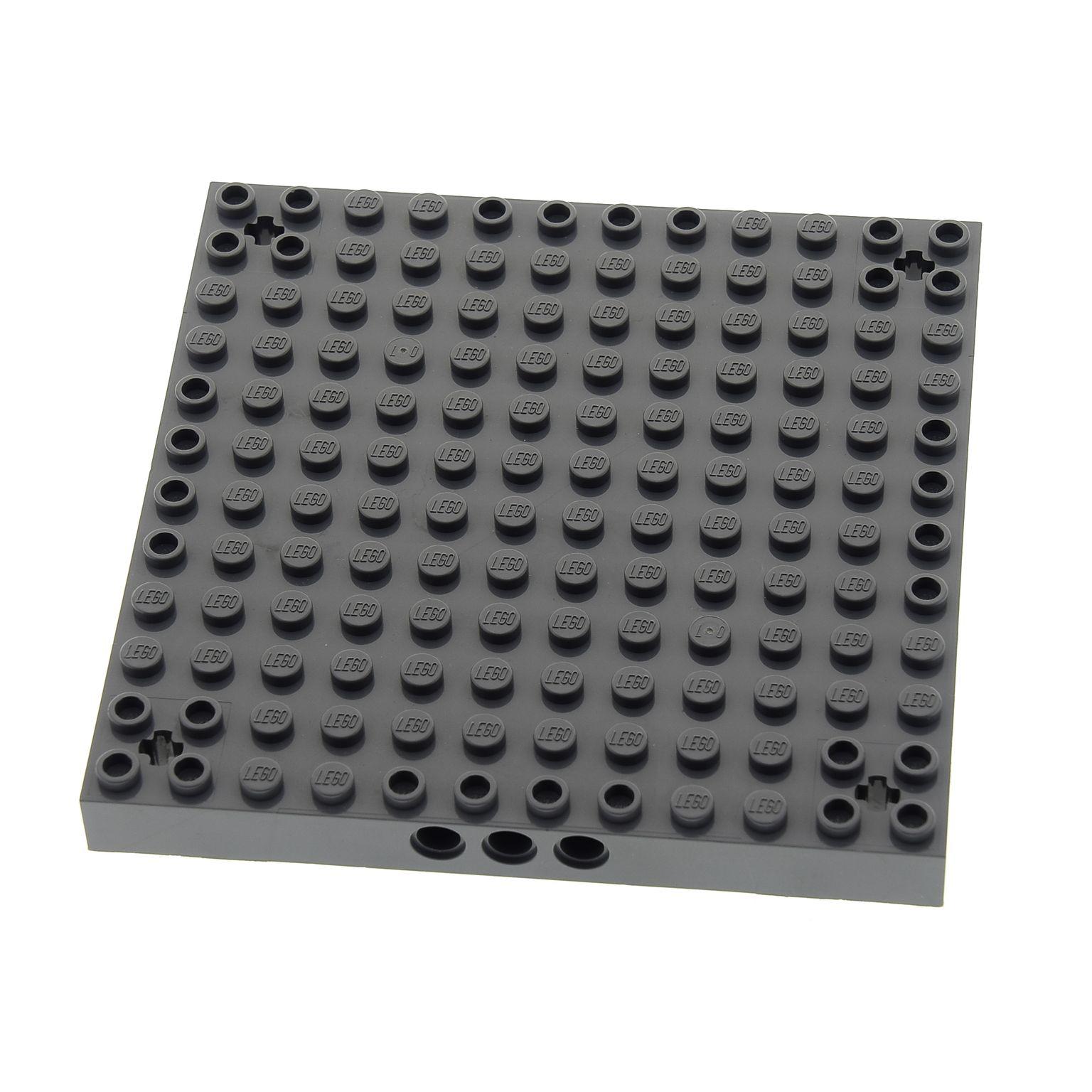 1x Lego System Bau Platte 12x12 neu-dunkel grau Noppen Achs Löcher 4260871 52040