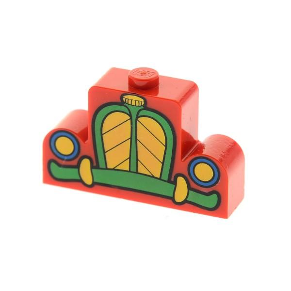 1 x Lego System Bau Stein modifiziert rot grün gelb 1x4x2 bedruckt mit Kühler Grill Fahrzeug Micky Maus Auto für Set 7411 4182615 Clock 4088px1