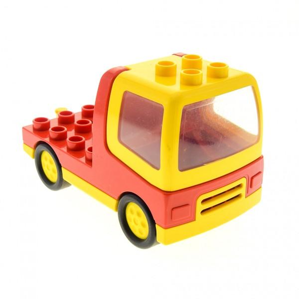 1 x Lego Duplo LKW rot gelb mit Kabine rot Laster Auto Reifen klein Lastwagen Zugmaschine Baufahrzeug duptruck01c01 31077