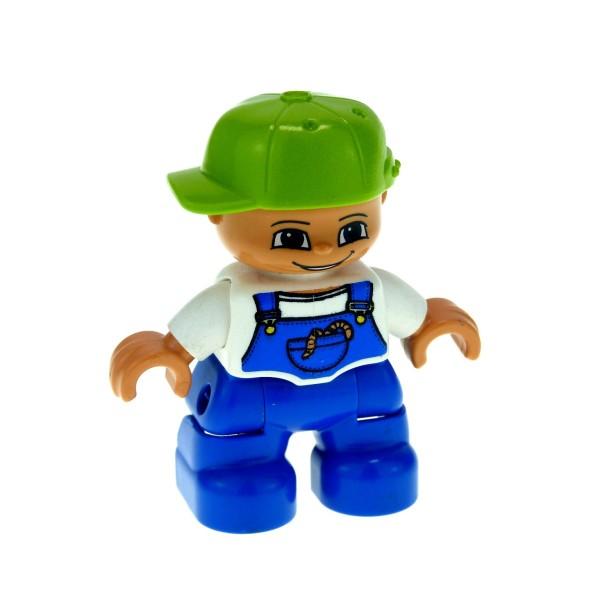 1 x Lego Duplo Figur Kind Junge Hose blau T-Shirt weiss Latzhose mit Regenwurm Kappe Mütze Basecap lime hell grün 47205pb002