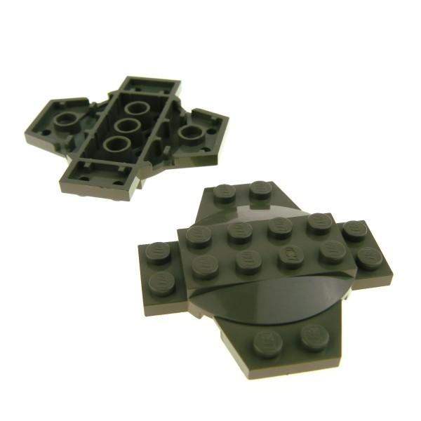2 x Lego System Kreuz Platte alt-dunkel grau 6 x 6 x 2/3 mit Kuppel Kessel Deckel Standfuß Star Wars 7313 7151 4990 30303