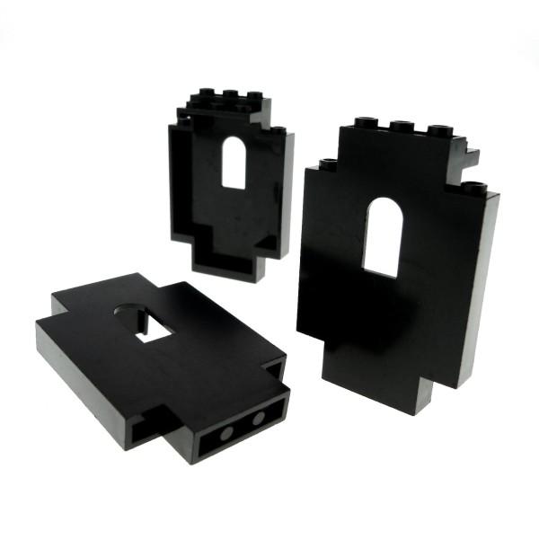 3 x Lego System Mauerteil schwarz 2x5x6 mit Fenster Loch Panele Mauer Wand Castle Burg 444426 4444