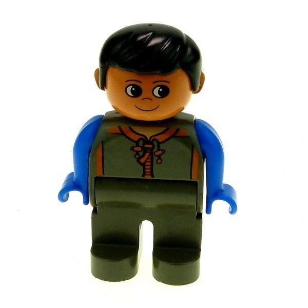 1 X Lego Duplo Figur Mann Hose Dunkel Grau Mantel Grau