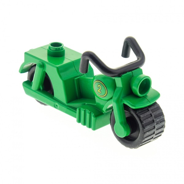 1 x Lego Duplo Motorrad grün mit Nr. 2 dupmcpb01