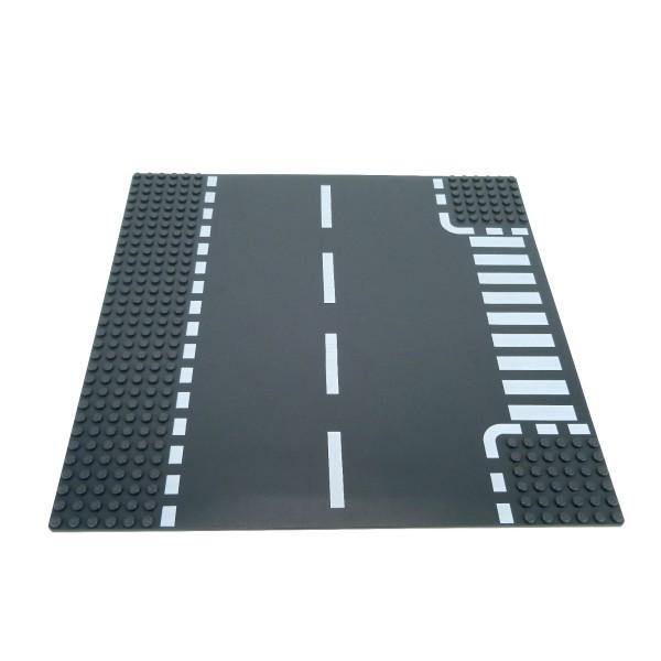 1 x Lego System Bau Platte 6N T Kreuzung neu-dunkel grau 32 x 32 Noppen 32x32 Straße Zebrastreifen Fussgänger Übergang 4277472 44341px2