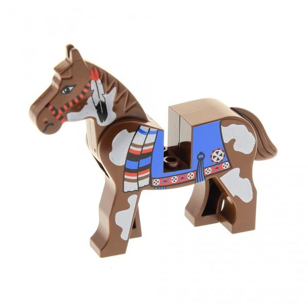 1 x Lego System Tier Pferd braun weiß gemustert bedruckt Decke Schabracke Indianer Western Set 6748 6746 6766 6763 6709 4493c01px2