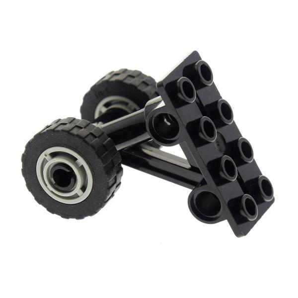1 x Lego System Achse schwarz 2x4 Flugzeug Fahrwerk Platte mit Rad Räder 11mm D. x 8mm Reifen 17.5mm D. x 6mm 42608 42610c04