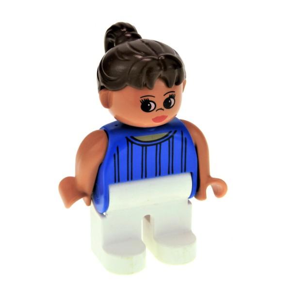 1 X Lego Duplo Figur Frau Mutter Hose Weiss Top Blau Haare Zopf Braun Für Puppenhaus Set 3608 3619 4555pb007