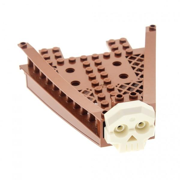 1 x Lego System Boot Gitter Bug reddish rot braun 14 x 12 Piraten Schiff Rumpf Reling mit Toten Schädel 1 x 4 x 3 Relief weiss Set 7075 47990 47988