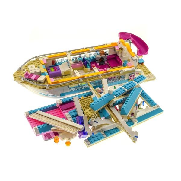 1 x Lego System Teile Set Modell für Friends 41015 Dolphin Cruiser Yacht Delfin Kreuzer Schiff Boot weiss hell blau pink unvollständig
