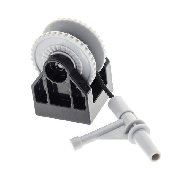 1 x Lego Duplo Seilwinde schwarz Seil mit Feuerwehr Düse Spritze Rolle neu-hell grau Rillen 35 mm Kran Basis Halter für Schranke 41169c05 6036717 13358