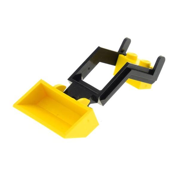 1 x Lego System Bagger Schaufel gelb 2x4x1 mit Kran Arm schwarz 2x6x2 und Kran Arm Halter modifiziert gelb Fahrzeug Auto Bagger Set 625 692 649 6658 3317 3314 784