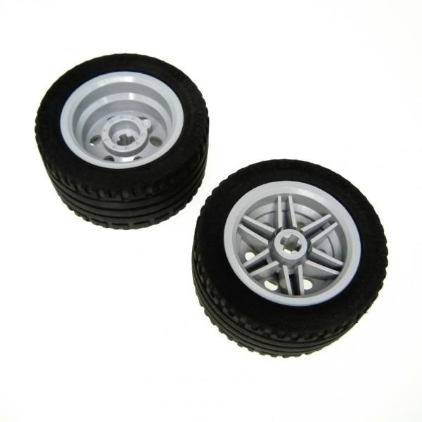 2 x Lego Technic Rad schwarz 43.2x22 ZR Räder Reifen Felge neu-hell grau 30.4mm D.x20mm Technik 56145 44309 4184286 4297210 56145c01
