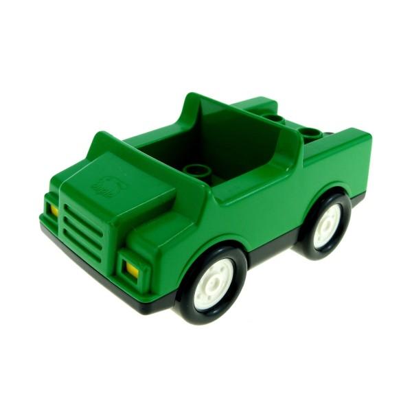1 x Lego Duplo Fahrzeug Auto grün schwarz Räder weiss PKW für Tank Wagen 4 Noppen im Sitz klein für Set 3091 2218c02
